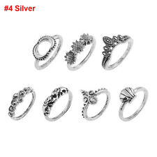 Bohemian Women Hollow Flower Carved Totem Turquoise Midi Knuckle Finger Ring Set #4 Silver
