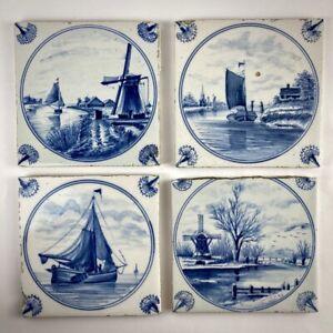 Quatre carreaux en faïence de Delft XIXe - Moulin et voilier - Antique tile 19e