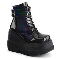 Demonia SHAKER-52 Women's Black Hologram Wedge Platform Goth Punk Ankle Boots