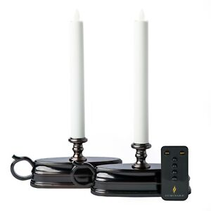 Luminara Set of (2) Colonial Window Candles with Remote - BRONZE - NEW