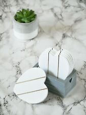 6pc Grey Wooden Heart Coasters & Holder Vintage Shabby Chic Rustic Coffee Cups