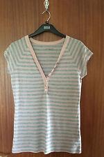 Calvin Klein Ladies Pink & Grey Stripe V Neck Cotton T Shirt, Size Large (14-16)