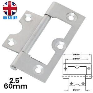 "2x (Pair) Flush Hinges 2.5""/60mm SILVER Steel Door/Cupboard/Cabinet/Wardrobe UK"