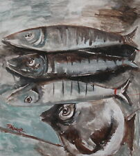 Vintage oil painting fishes signed