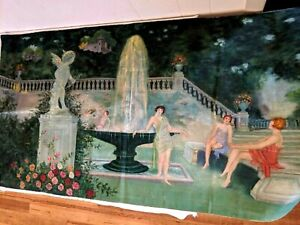 """ANTIQUE VTG ART DECO PAINTING ON FABRIC NUDES WOMEN GIRLS IN GARDEN 48"""" by 26"""""""