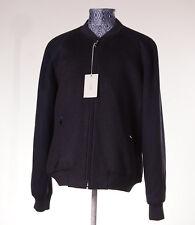 NWT $4350 BRIONI Wool-Silk-Cashmere Panel Detail Bomber Jacket XL Midnight Blue