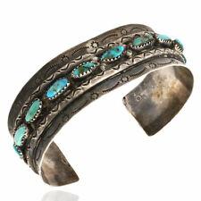 Vintage Navajo Handmade Sterling Silver Turquoise Cuff Bracelet