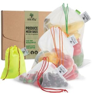 Reusable Produce Bags From Recycled Bottles Zero Waste Mesh Bags For Vegs 6 bags