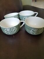 """""""The Old Curiosity Shop"""" Tea Cups 3 3/4"""" Green CURRIER and IVES Royal China 4"""