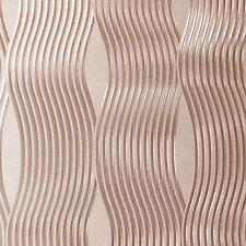 Luxury Foil Wave Metallic Feature Vinyl Wallpaper - Rose Gold - Arthouse- 294500