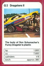 """VINTAGE 1970's/'80's ACE TRUMP GAME """"Dragsters II Series"""" 600 HP MINI CARD #G3"""