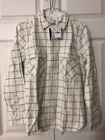 NWT J Crew Plaid Flannel Shirt Jacket $60 Size XS Ivory Navy Blue Green 999