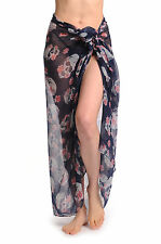 Skull With Flowers On Navy Blue Unisex Scarf and Beach Sarong (SF000957)