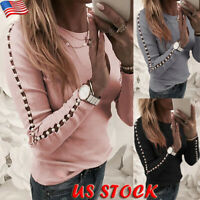 Women's Pearl Hollow Long Sleeve Tops Ladies Casual Pullover Blouse Slim T-Shirt