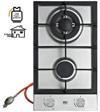 NJ Domino-302S Cuisinière à Gaz Inox 2 Flame + Gasschlauch-Regler Kit