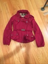 Burberry London Lightweight Pack-away Rain Jacket Coat. Lined. Burgundy. Size 6.