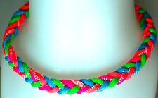 "New 20"" Custom 4 Rope Neon Green Light Blue Hot Pink Orange Tornado Necklace"