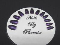 hand painted full cover plum/silver sparkl stiletto false nails,choice of sizes