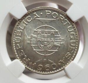 Silver 1960 Mozambique 20 Escudos | NGC MS64