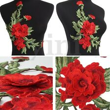 3D Red Flower Motif Embroidery Sew On Floral Collar Dress Patches Applique Craft