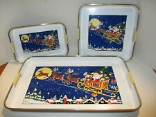 New Vintage Santa Claus & Sleigh Christmas Serving Trays (3), Holiday Cheer