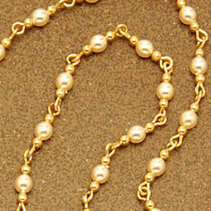 Opera spectacle chain - Small pearl glass beads on gold-plated links