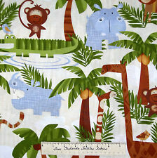 Timeless Treasures Fabric - Baby Nursery Safari Animal Cream Elephant YARD