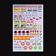 1/24 1/20 1/12 SCALE MODEL FACTORY HIRO 1960's SPONSOR DECALS GULF SHELL STP