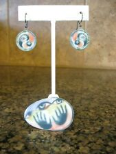 Somewhat Strange Artisan Ceramic Pin Brooch & Pierced Earrings / Eyes, Hands