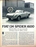 1971 Fiat 124 Spider 1600 Convertible Road Test Technical Data Review Article