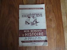 ANCIEN LIVRE SCOLAIRE MDI ANSCOMBRE MON MEMENTO D'HISTOIRE  1966 AFFICHE
