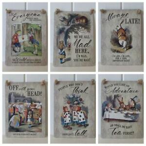Alice In Wonderland  Assorted Mini Metal Signs Mad Hatter White Rabbit