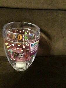 TERVIS STEMLESS WINE GLASS CHRISTMAS JOLLY MERRY HAPPY 9 OZ.