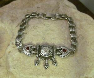 Vintage BRIGHTON Retired Silver tone LOVE IS A HEART BEAT Bracelet