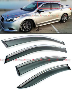 FOR 2015-18 SUBARU LEGACY SEDAN CLIP-ON SMOKE TINTED WINDOW VISOR W/ CHROME TRIM