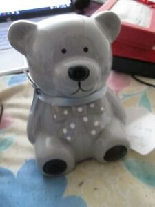 """TAKE ME HOME : GREY TEDDY BEAR MONEY BOX ; NEW TEDDY WITH BOW TIE : 5"""" IN HEIGHT"""