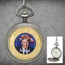President Donald Trump Collectible Pocket Watch MAGA Antique Case w/ Chain