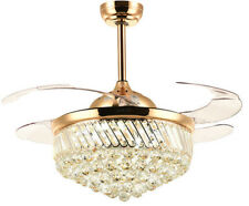 "36"" Golden Crystal Chandelier Ceiling Fan with Dimmable LED Light Remote Control"