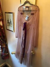 New Antik Batik Emilie Pink Silky Sheer Purple Ribbon Vintage Boho Dress,Med
