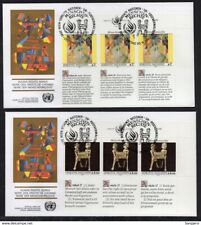 ✔️ UN UNITED NATIONS FDC 2 EXCELLENT COVERS HUMAN RIGHTS SERIES