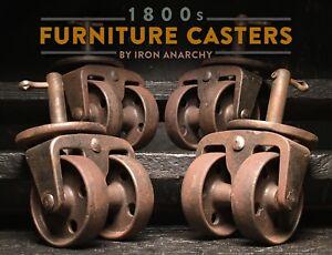 ANTIQUE INDUSTRIAL CASTERS Vtg Cast Iron Metal Swivel Table Furniture Wheel Stem