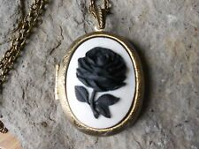 BLACK ROSE CAMEO LOCKET (ON WHITE) - ANTIQUE BRONZE, VINTAGE LOOK