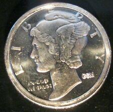 Mercury Head dime design - 1/10 oz .999 Fine Pure Solid Silver Bullion Round