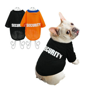 Nero Maglietta per cani d'estate T-shirt SECURITY Vestiti Bulldog Francese S-XXL