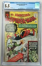 AMAZING SPIDER-MAN #14 CGC 5.5 - 1ST APP. OF GREEN GOBLIN/1ST SPIDEY & HULK MEET
