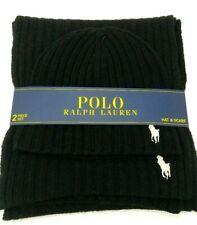 NWT POLO RALPH LAUREN 2-Piece Wool Beanie Blend Hat & Scarf Set Navy Blue