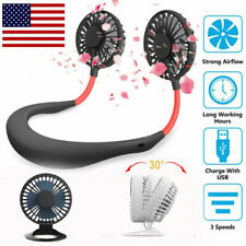 Mini Table Fan & Portable Bladeless Rechargeable Neckband Hanging Cooling Fan US