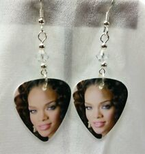 Rihanna with Curly Hair Guitar Pick Earrings with Clear Swarovski Crystals