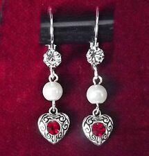 Trachten Ohrringe m Herz Perle Steinen u Bügelbrisur - Dirndl Ohrhänger - ROT