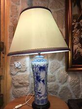 Grande Lampe Porcelaine De Chine Blanc Bleu Décors Bambous Japonisant Socle Bois